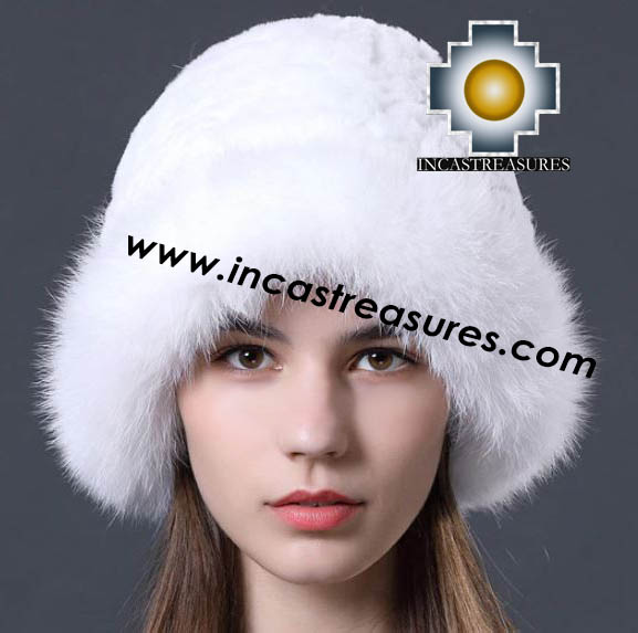 Alpaca Fur hat Cuajone White- 100% Baby Alpaca