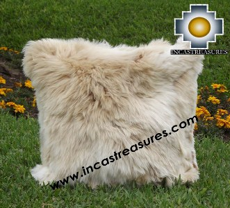100% Baby Alpaca Cushion Both Sides Premium SURI Black - Product id: Alpaca-cushion12-11beige Photo01
