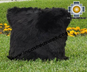 100% Baby Alpaca Cushion one side SURI Black - Product id: Alpaca-cushion12-03black Photo01