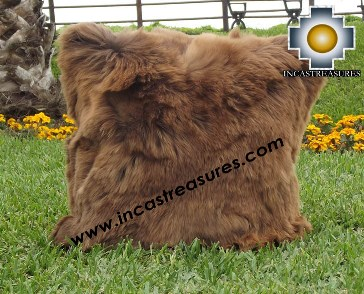 100% Baby Alpaca Cushion one side SURI brown - Product id: Alpaca-cushion12-03brown Photo01