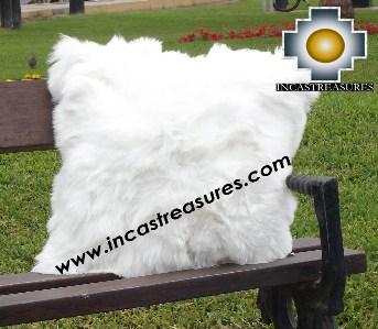 100% Baby Alpaca Cushion Both Sides Premium SURI White - Product id: Alpaca-cushion12-08white Photo04