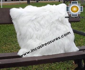 100% Baby Alpaca Cushion Both Sides SURI white - Product id: Alpaca-cushion12-08white Photo01