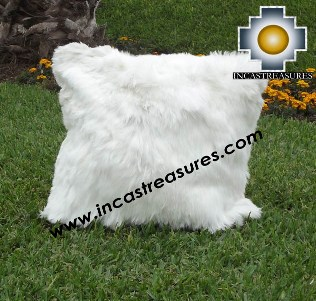 100% Baby Alpaca Cushion one side SURI white - Product id: Alpaca-cushion12-02white Photo01