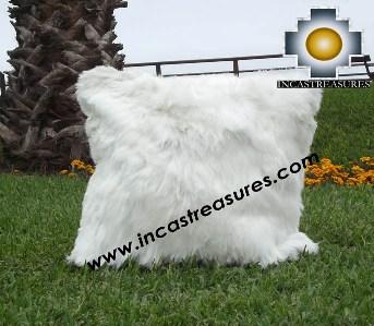 100% Baby Alpaca Cushion Both Sides Premium SURI White - Product id: Alpaca-cushion12-08white Photo02