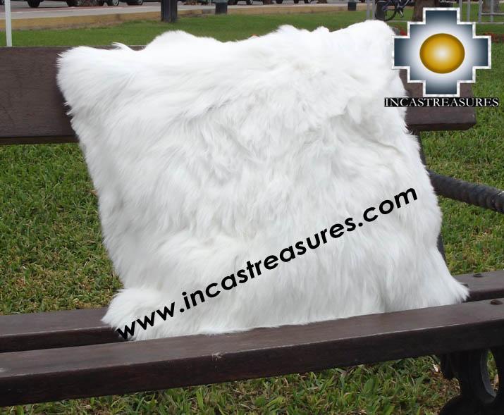 100% Baby Alpaca Cushion Both Sides Premium SURI White - Product id: Alpaca-cushion12-08white