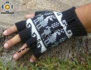 100% Alpaca Wool Fingerless Gloves with Llama Designs black  - Product id: ALPACAGLOVES09-25 Photo03