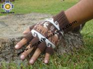 100% Alpaca Wool Fingerless Gloves with Llama Designs chocolate  - Product id: ALPACAGLOVES09-27 Photo02