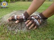 100% Alpaca Wool Fingerless Gloves with Llama Designs chocolate  - Product id: ALPACAGLOVES09-27 Photo01