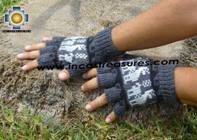 100% Alpaca Wool Fingerless Gloves with Llama Designs gray  - Product id: ALPACAGLOVES09-28 Photo02