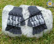 100% Alpaca Wool Fingerless Gloves with Llama Designs gray  - Product id: ALPACAGLOVES09-28 Photo01