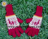 100% Alpaca Wool Fingerless Gloves with Llama Designs Red  - Product id: ALPACAGLOVES09-33 Photo01