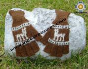 100% Alpaca Wool Fingerless Gloves with rustic Designs brown  - Product id: ALPACAGLOVES09-29 Photo01