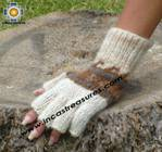 100% Alpaca Wool Fingerless Gloves with rustic Designs cream  - Product id: ALPACAGLOVES09-30 Photo02