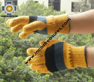 Alpaca Wool Gloves STRIPES ,KIT OF 10 ASSORTED