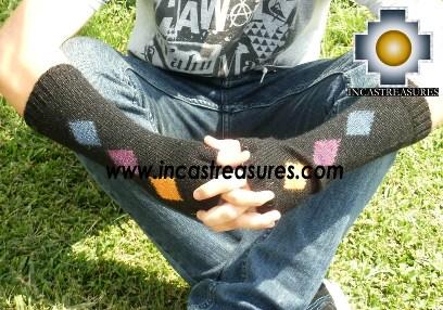100% Alpaca Wool Wrist Warmers Gloves Amaru - Product id: ALPACAGLOVES12-01 Photo03