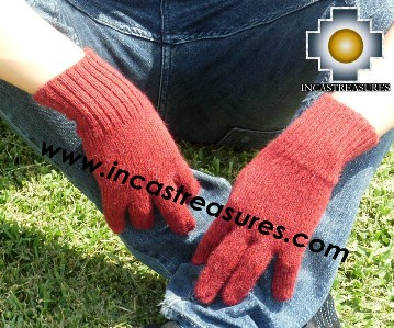 100% Alpaca Wool gloves burgundy - Product id: ALPACAGLOVES09-06 Photo03