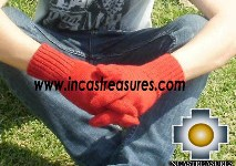 100% Alpaca Wool gloves red - Product id: ALPACAGLOVES09-06 Photo02