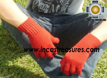 100% Alpaca Wool gloves Red- Product id: ALPACAGLOVES09-06 Photo03