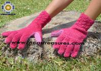 100% Alpaca Wool gloves pink Yawar