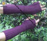 100% Alpaca Wool Wrist Warmers Gloves Solid Color - Product id: ALPACAGLOVES09-35 Photo04