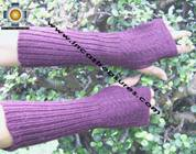 100% Alpaca Wool Wrist Warmers Gloves Solid Color - Product id: ALPACAGLOVES09-35 Photo02