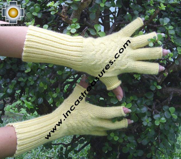 100% Alpaca Wool Knit Fingerless Gloves Solid Color - Product id: ALPACAGLOVES09-36