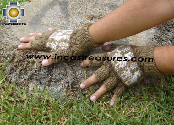 100% Alpaca Wool Fingerless Gloves with Llama Designs camel  - Product id: ALPACAGLOVES09-26 Photo02