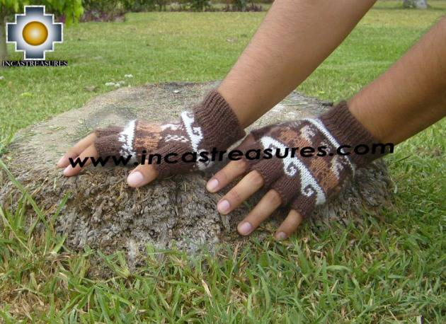 100% Alpaca Wool Fingerless Gloves with Llama Designs chocolate  - Product id: ALPACAGLOVES09-27 Photo01