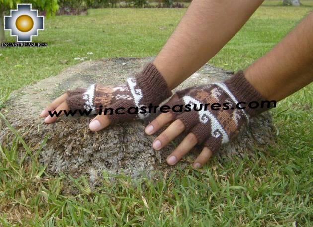 100% Alpaca Wool Fingerless gloves with Llama Designs in Chocolate