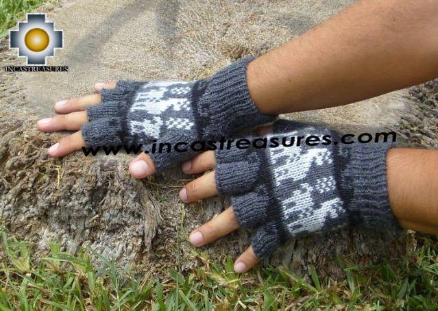 100% Alpaca Wool Fingerless Gloves with Llama Designs gray  - Product id: ALPACAGLOVES09-28