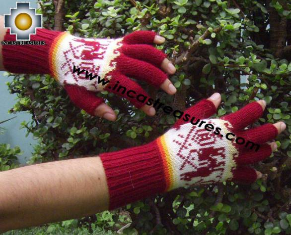 100% Alpaca Wool Fingerless Gloves with Llama Designs Red  - Product id: ALPACAGLOVES09-33