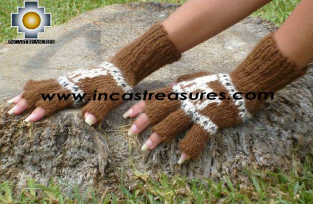 100% Alpaca Wool Fingerless Gloves with rustic Designs brown  - Product id: ALPACAGLOVES09-29