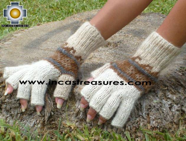 100% Alpaca Wool Fingerless Gloves with rustic Designs cream  - Product id: ALPACAGLOVES09-30 Photo01