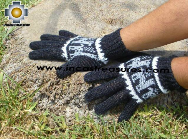 100% Alpaca Wool Gloves with Llama Designs Black  - Product id: ALPACAGLOVES09-08 Photo02
