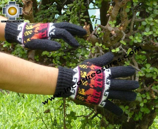 100% Alpaca Wool Gloves with Llama Designs Black Colored