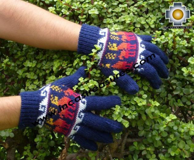 100% Alpaca Wool Gloves with Llama Designs Blue