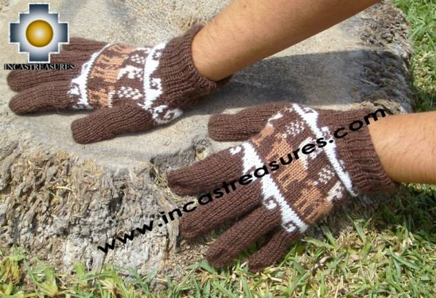 100% Alpaca Wool Gloves with Llama Designs brown  - Product id: ALPACAGLOVES09-11 Photo03