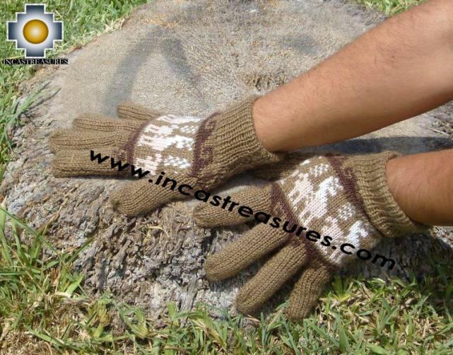 100% Alpaca Wool Gloves with Llama Designs earth