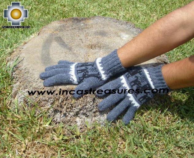 100% Alpaca Wool Gloves with Llama Designs gray  - Product id: ALPACAGLOVES09-09 Photo02