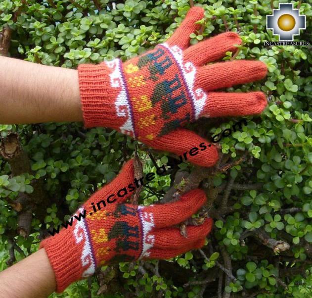 100% Alpaca Wool Gloves with Llama Designs Orange