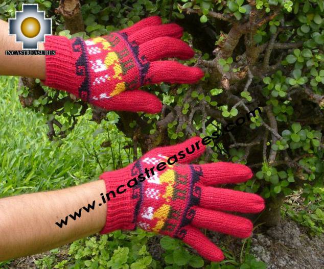 100% Alpaca Wool Gloves with Llama Designs red  - Product id: ALPACAGLOVES09-17 Photo02