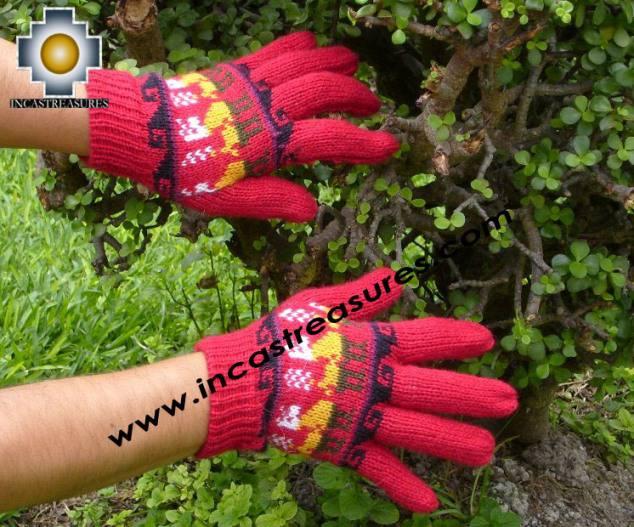 100% Alpaca Wool Gloves with Llama Designs Red