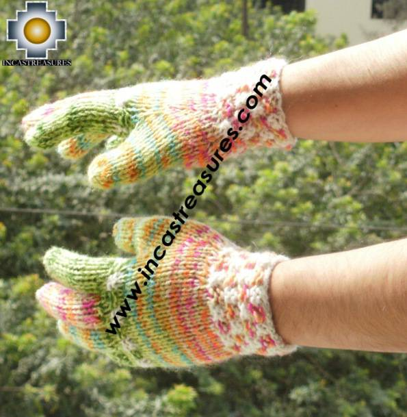 Alpaca Wool Hand Knit Mittens gloves chunka - Product id: ALPACAGLOVES09-52Photo01