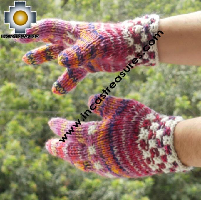 Alpaca Wool Hand Knit Mittens gloves chunka - Product id: ALPACAGLOVES09-55Photo01