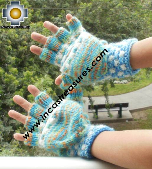 Alpaca Wool Hand Knit Mittens gloves pichqa - Product id: ALPACAGLOVES09-47Photo01