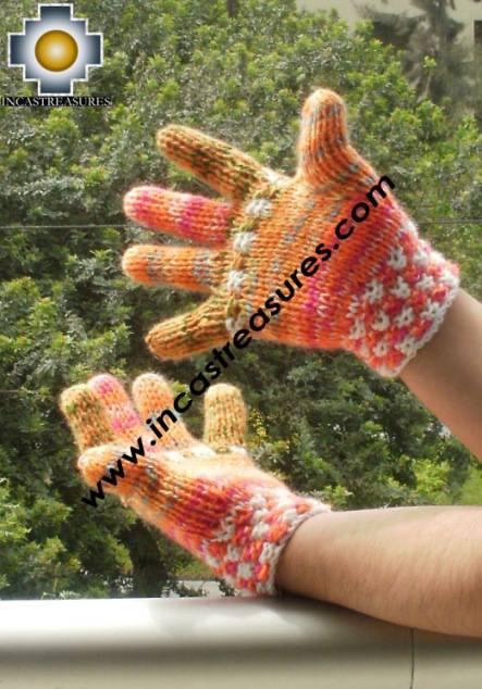 Alpaca Wool Hand Knit Mittens gloves qanchis - Product id: ALPACAGLOVES09-49Photo01