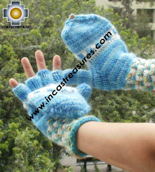 Alpaca Wool Hand Knit Mittens gloves soqta - Product id: ALPACAGLOVES09-48Photo02