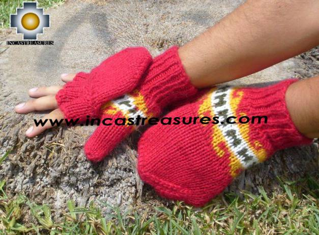 100% Alpaca Wool Hand Knit Mittens Mitts puka - Product id: ALPACAGLOVES09-02