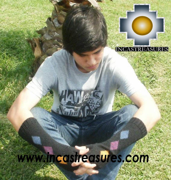 100% Alpaca Wool Wrist Warmers Gloves Amaru - Product id: ALPACAGLOVES12-01