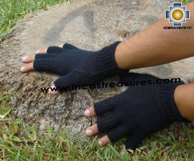 100% Alpaca Wool Fingerless gloves Black